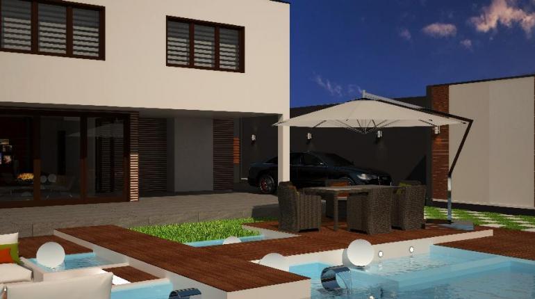 MINIMALISM CUBED Открытая терраса с бассейном в проекте двухэтажного коттеджа
